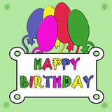 Birthday card. With colorful balloons on green background Royalty Free Stock Photo