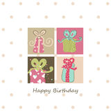 Birthday card. With four presents Royalty Free Stock Photography