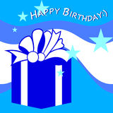 Birthday Card. With gift box and stars vector illustration