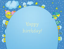 Birthday card. With blue outline Royalty Free Stock Photo