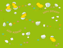 Birthday card. With chickens on green grass Stock Photo