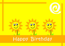 Birthday Card. With smile sunflowers royalty free illustration