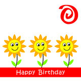 Birthday Card. With smile sunflowers vector illustration