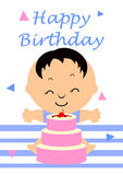 Birthday Card. With little boy and cherry cake vector illustration