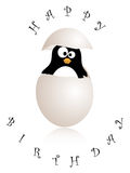 Birthday card. With penguin in an eggshell Royalty Free Stock Images