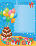 Birthday card. Birthday greeting card with balloons, cake and gift boxes - vector illustration stock illustration