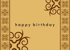 Birthday Card. With curve shape pattern in the sides stock illustration