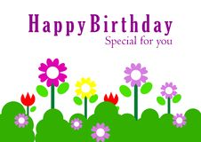 Birthday Card. With colorful flowers vector illustration