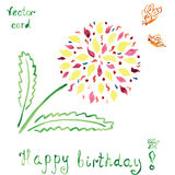Birthday card with absctract bright flower and Royalty Free Stock Photography