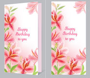 Birthday card with alstromeria Royalty Free Stock Image