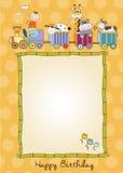 Birthday card with animal toys train Stock Photos
