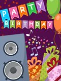 Birthday card with audio speakers, gifts and flags. Illustration stock illustration