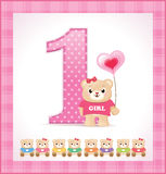 Birthday card for baby girl. With cute teddy bears Royalty Free Stock Photography