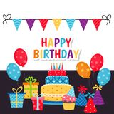 Background with birthday icons set. Birthday card. Background with gift boxes and celebration design elements Royalty Free Illustration