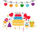 Background with birthday icons set. Birthday card. Background with gift boxes and celebration design elements Stock Images