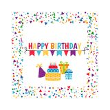 Background with birthday icons set. Birthday card. Background with gift boxes and celebration design elements Vector Illustration