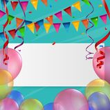 Birthday card with balloon and ribbon. Illustration of Birthday card with balloon and ribbon Stock Photography