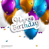 Birthday card with balloons and birthday text. Royalty Free Stock Photos