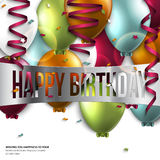 Birthday card with balloons and birthday text. Stock Photos