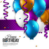 Birthday card with balloons and birthday text. Stock Photography
