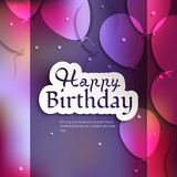 Birthday card with balloons, and birthday text. Royalty Free Stock Images