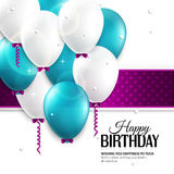Birthday card with balloons, and birthday text. Royalty Free Stock Photos