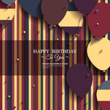 Birthday card with balloons and birthday text. Royalty Free Stock Photo