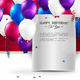 Birthday card with balloons, and birthday text. Stock Photography