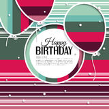 Birthday card with balloons and birthday text on Royalty Free Stock Photo
