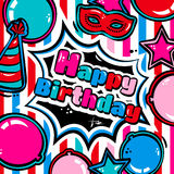 Birthday card with balloons, blast, carnival mask and hat. Vector. Stock Photography