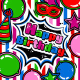 Birthday card with balloons, blast, carnival mask and hat. Vector. Royalty Free Stock Images