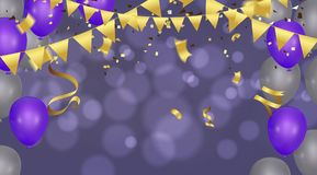 Birthday card with balloons and bunting flags. Vector Abstract G. Low Background Gold shiny flying confetti Stock Image
