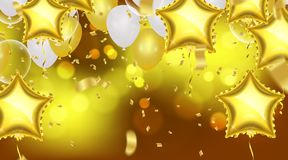 Birthday card with balloons and bunting flags. Vector Abstract G. Low Background Gold shiny flying confetti Royalty Free Stock Photos