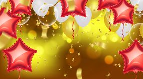 Birthday card with balloons and bunting flags. Vector Abstract G. Low Background Gold shiny flying confetti Royalty Free Stock Image