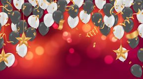 Birthday card with balloons and bunting flags. Vector Abstract G. Low Background Gold shiny flying confetti Stock Photography