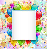 Birthday card with balloons and confetti. Illustration birthday card with balloons and confetti - vector Stock Photography