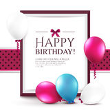 Birthday card with balloons and frame. Royalty Free Stock Image