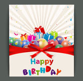 Birthday card with balloons and gift box Royalty Free Stock Image