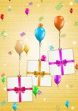 Birthday card with balloons and gift Royalty Free Stock Image