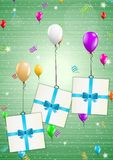 Birthday card with balloons and gift Royalty Free Stock Photography
