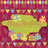 Birthday card with balloons, gifts and garland in flat style Royalty Free Stock Photography