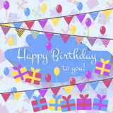 Birthday card with balloons, gifts and garland in flat style Stock Photo
