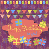 Birthday card with balloons, gifts and garland in flat style Stock Image