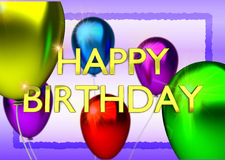 Birthday card with balloons and gold birthday text Royalty Free Stock Images