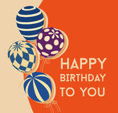 Birthday card with balloons Royalty Free Stock Photo