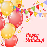 Birthday card with balloons and pennants over pink Stock Photos