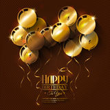 Birthday card with balloons and ribbons Royalty Free Stock Photos