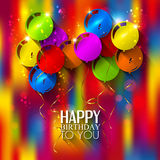 Birthday card with balloons and ribbons on Royalty Free Stock Image
