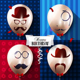 Birthday card. Balloons with silhouettes on Royalty Free Stock Photos