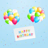 Birthday card and balloons on sky background Stock Photo